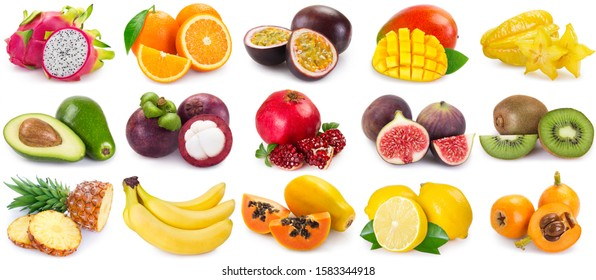 collection of fresh fruits isolated on white background. fruit collage. - Shutterstock ID 1583344918