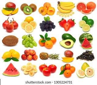 Collection of fresh fruits  mango, kiwi, banana, grapefruit, lemon, mandarin, watermelon, orange, peach, avocado, strawberry, lime, grapes, apple, pomelo, coconut isolated on white background