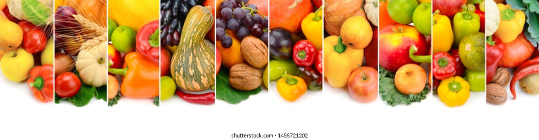 Collection fresh fruits and vegetables isolated on white background. Panoramic collage. Wide photo with free space for text.