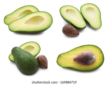 Collection of  fresh green avocado isolated on white background