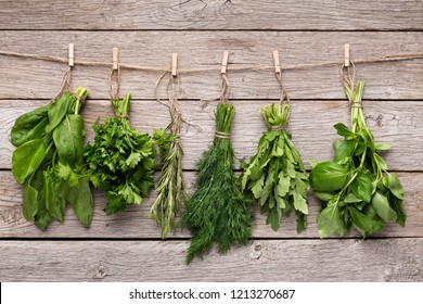 Collection of fresh herbs hanging on wooden background. Bundle of basil, parsley, dill, arugula, rosemary and oregano