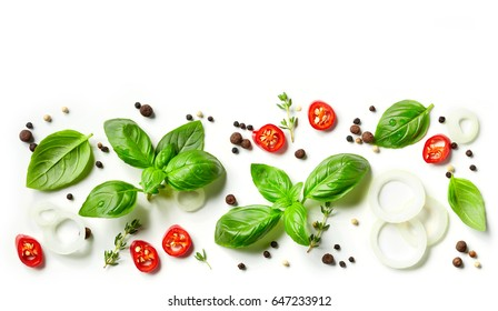 collection of fresh herbs and spices isolated on white background, top view