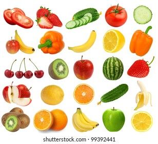collection of fresh juicy fruits and berries isolated on white background