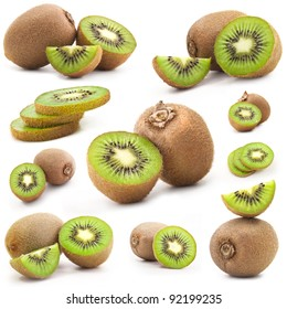 Collection of fresh kiwi isolated on white background, includes soft shadows