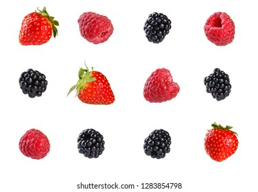 Collection of fresh mixed berries. Isolated on white background.