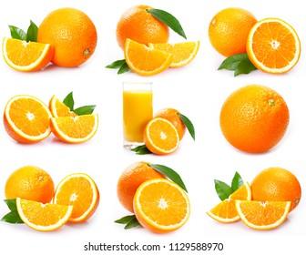 collection of fresh orange isolated on white background