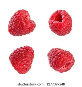 Collection of fresh raspberries. Isolated on white background.