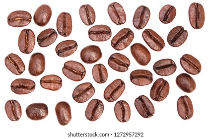 Collection of fresh roasted coffee beans isolate on white background.