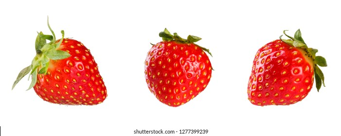 Collection of fresh strawberries. Isolated on white background.