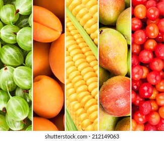 Collection of fresh summer fruits in the form of vertical stripes