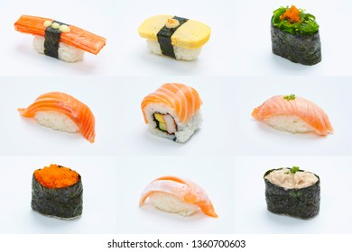 Collection of fresh sushi on the white background