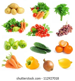 collection of fresh vegetables and fruits isolated on a white background