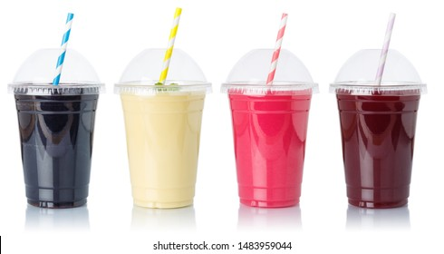 Collection of fruit smoothies fruits juice straw drink in cups isolated on a white background
