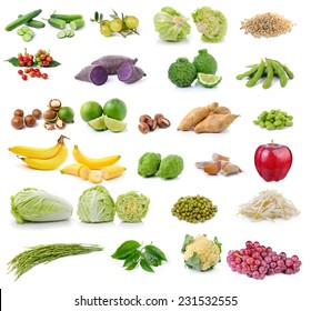 collection of fruit and vegetable on white background