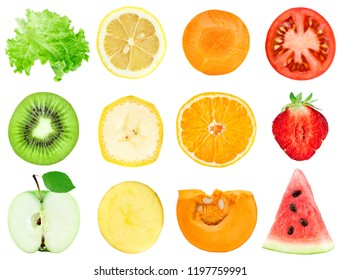 Collection of fruit and vegetable slices. Fresh food