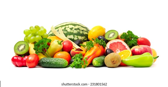 Collection fruit and vegetables on white
