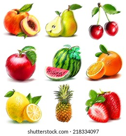 Collection of fruits. Digital graphic like pastel freehand drawing.
