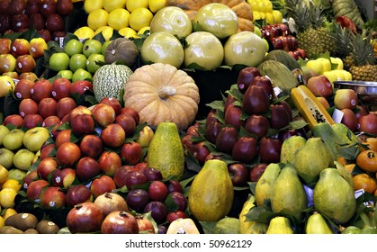 Collection of fruits on a market