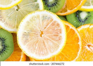 Collection of fruits slices. Healthy food background