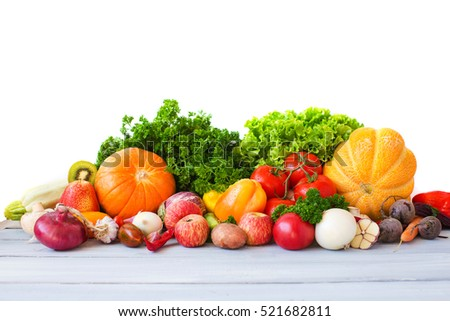 Collection fruits and vegetables isolated.