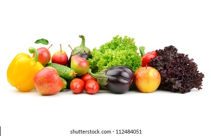 collection fruits and vegetables isolated on a white background