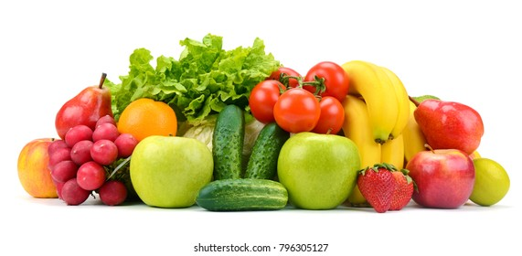Collection of fruits and vegetables isolated on white background for your project.