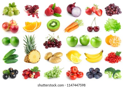 Collection of fruits and vegetables on white background. Fresh color food