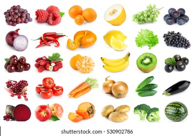 Collection of fruits and vegetables on white background. Fresh food
