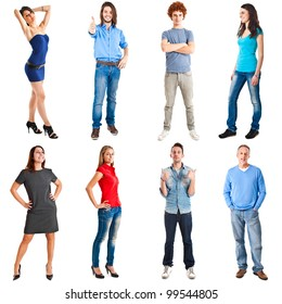 Collection of full length portrait of people in