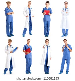 Collection of full length portraits of female medical workers