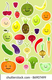 Collection of funny vegetables and fruit