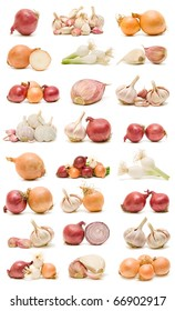 collection of garlic and onions