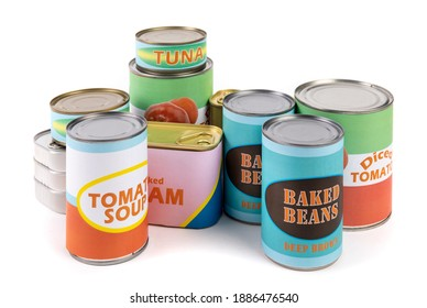 a collection of generic labelled food tins or cans, tomatoes, beans, tuna and soup isolated on white