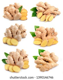 Collection of ginger root in isolated white background.