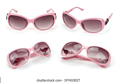 Collection of glamour pink sun glasses.