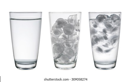 Collection of Glass with water and ice isolated on white background, Clipping Path