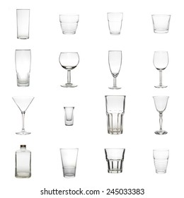 Collection of Glasses isolated on a white background in high definition