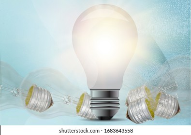 Collection of glowing light bulb on the desk