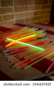Collection of glowsticks on a night party