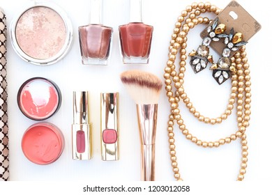 Collection of golden color accessories woman beauty fashion set on white background
