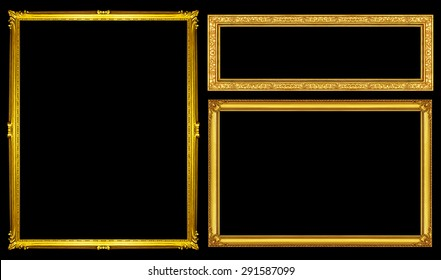 collection golden pictureframe isolated on black background, clipping path.
