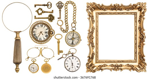 Collection of golden vintage goods, jewelry and objects. Antique picture frame, keys, clock, loupe, compass, glasses isolated on white background