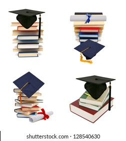 Collection grad hat and diploma with books isolated on white