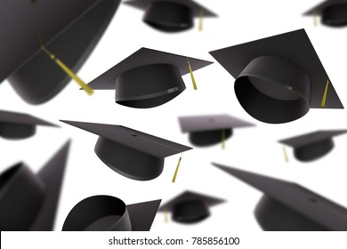 Collection of graduation caps. 3D Rendering