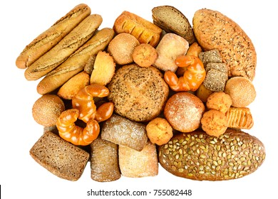 Collection of grain bread and baked goods isolated on white background. Top view. Flat lay