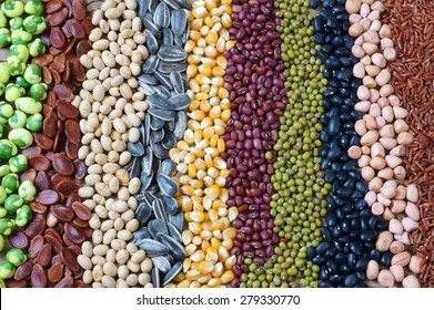 Collection of grain, cereal, seed, bean, agriculture product of Asia countries, is healthy food, nutrition and rich fibre