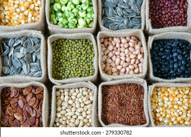 Collection of grain, cereal, seed, bean, agriculture product of Asia countries, is healthy food, nutrition eating and fibre food