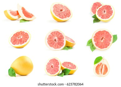 Collection of grapefruit close-up isolated on white background
