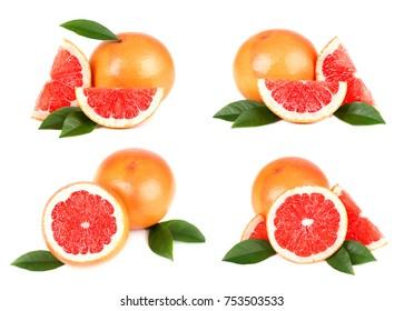 Collection of grapefruit isolated on white background. Set of grapefruit fruits with cut and green leaves isolated on white background