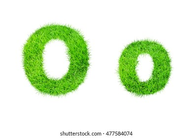 collection of green grass,eco font isolated on white background.o